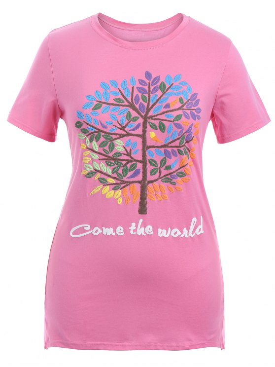 womens Plus Size Letter Embroidered Top - PINK XL