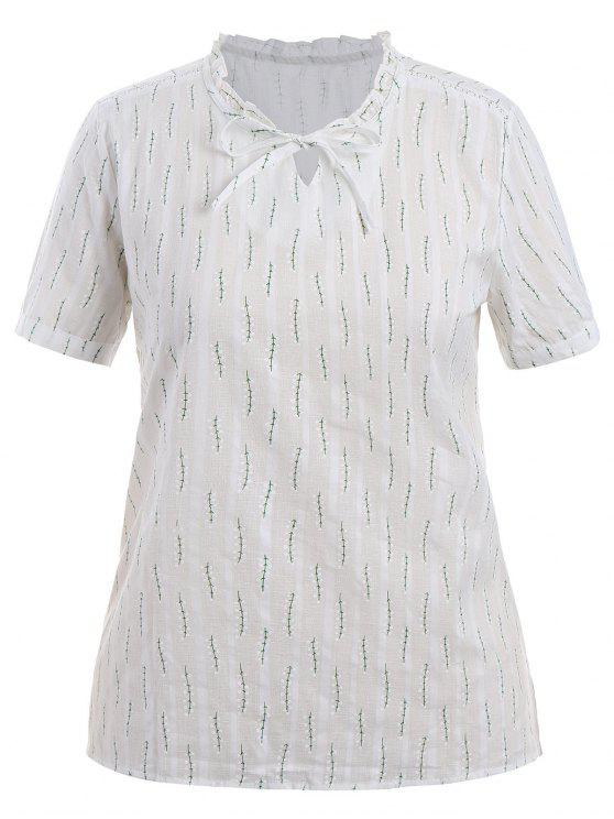 online Plus Size Leaves Ruffles Top - WHITE XL