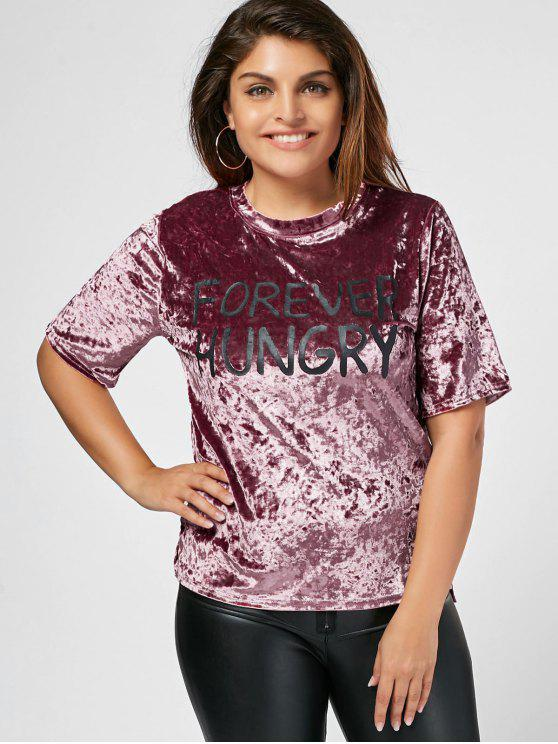 chic Letter Crushed Velvet Plus Size Top - PINK 4XL