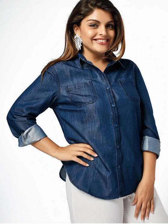 596e1333864fc6 39% OFF  2019 Plus Size Denim Shirt With Pockets In DENIM BLUE