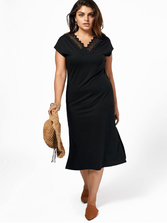 Vestido de talla grande con encaje de corte recto de Midi - Negro 4XL