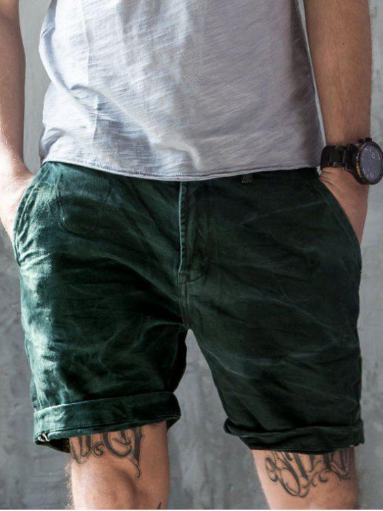Herren Denim Bermuda Shorts - Blau Grün 32