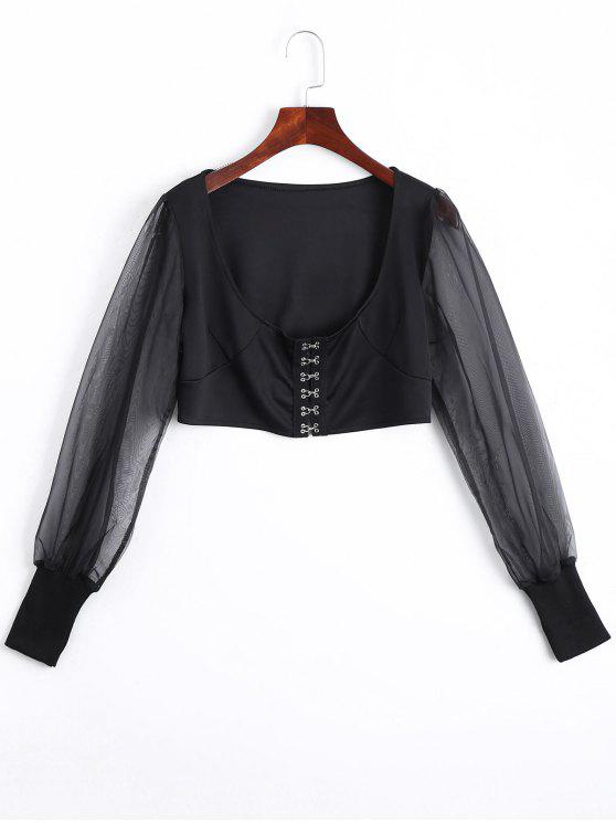 affordable U Neck Organza Panel Crop Jacket - BLACK L