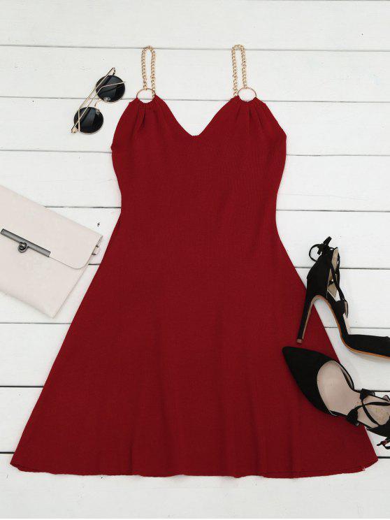 Vestido de Tejido con Vuelo con Adornado de Anillos - Rojo Única Talla