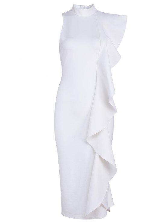 فستان ملائم كشكش الحاشية بلا أكمام - أبيض M