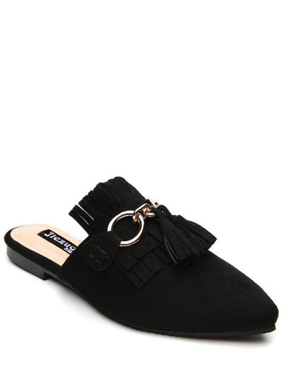 Zapatillas de tacón plano con punta de tacón - Negro 39