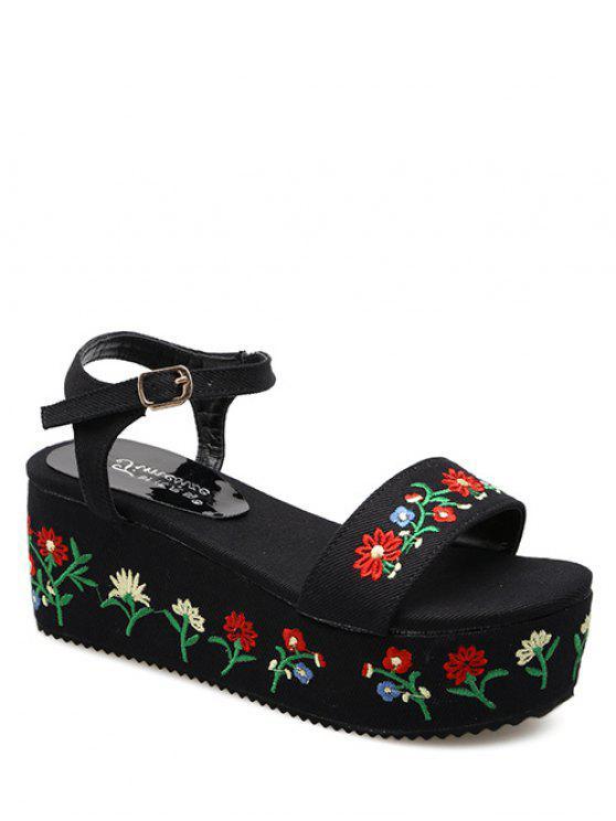 Denim bordado plataforma sandalias - Negro 40
