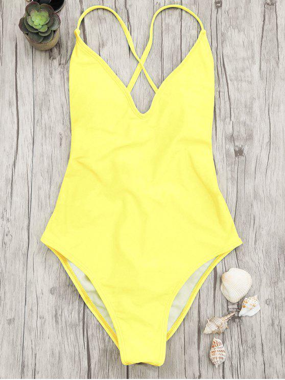 V cuello alto corte de una pieza traje de baño - Amarillo L