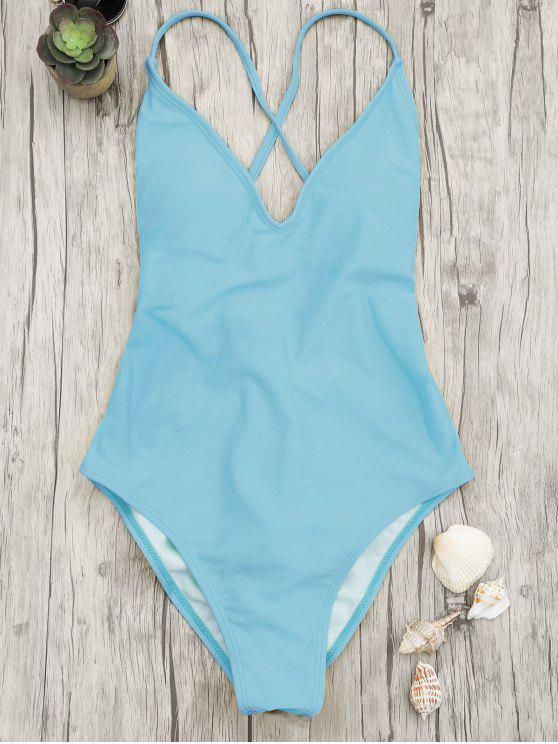 V cuello alto corte de una pieza traje de baño - Azul S