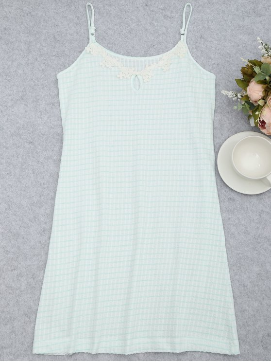 women's Cami Keyhole Striped Sleep Dress - WHITE AND GREEN S
