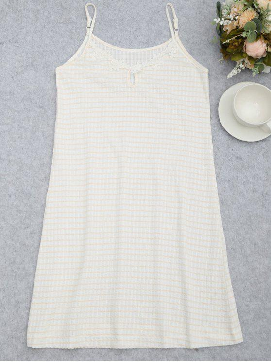 best Cami Keyhole Striped Sleep Dress - WHITE M