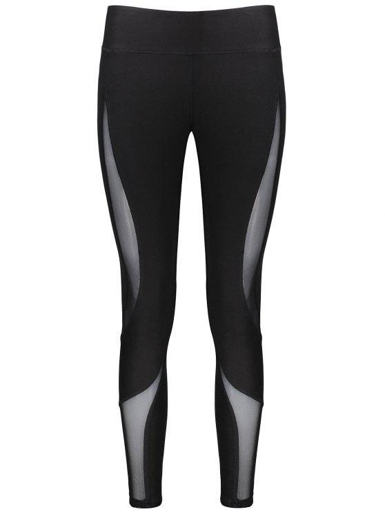 Panneau de maillot d'entraînement Leggings maigres - Noir L