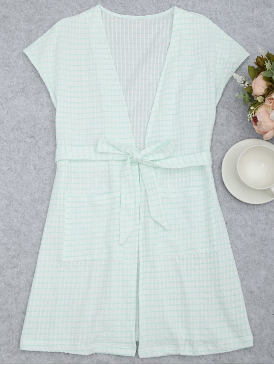 shops Belted Striped Kimono Loungewear - WHITE AND GREEN M