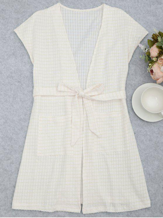 fancy Belted Striped Kimono Loungewear - WHITE S