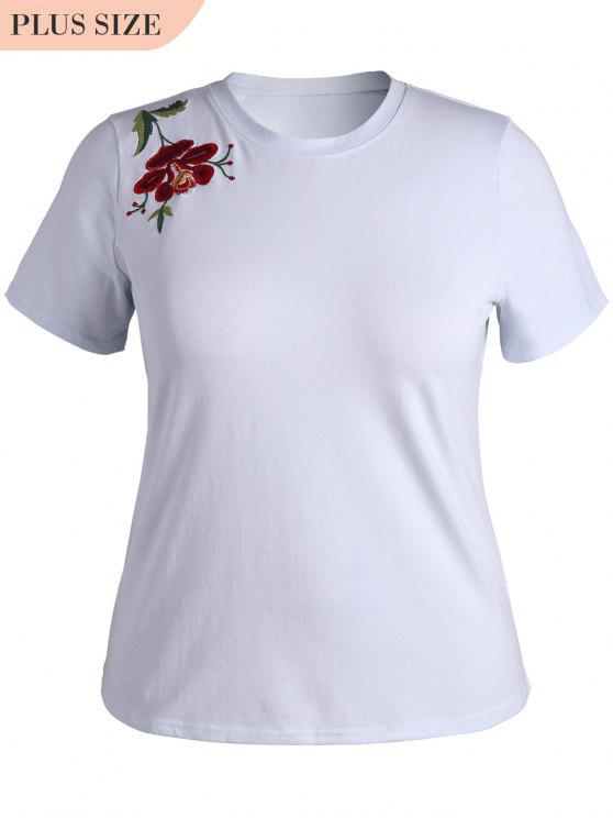 online Plus Size Floral Embroidered T-Shirt - WHITE XL