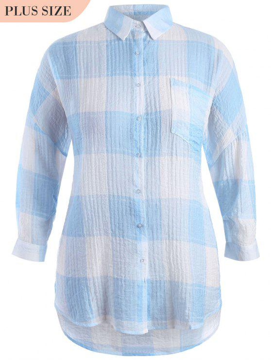 hot Checked Plus Size High Low Shirt - BLUE 2XL