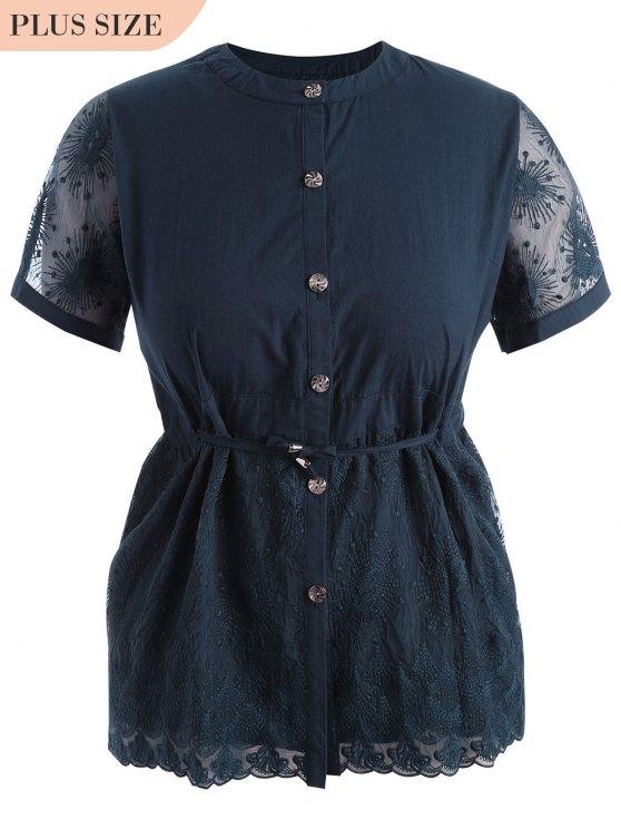 outfits Plus Size Lace Panel Button Up Blouse - CADETBLUE XL