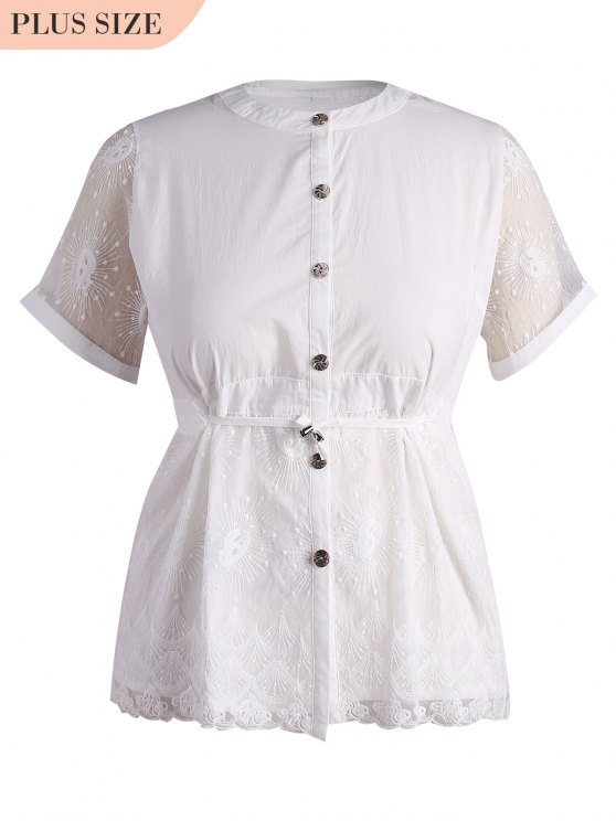 chic Plus Size Lace Panel Button Up Blouse - WHITE 4XL