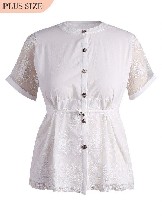 affordable Plus Size Lace Panel Button Up Blouse - WHITE 2XL