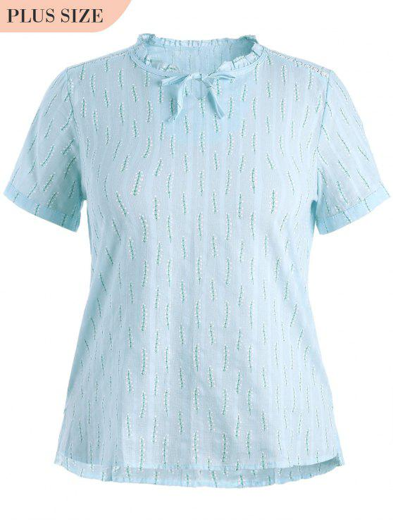 lady Plus Size Leaves Ruffles Top - LIGHT BLUE 2XL