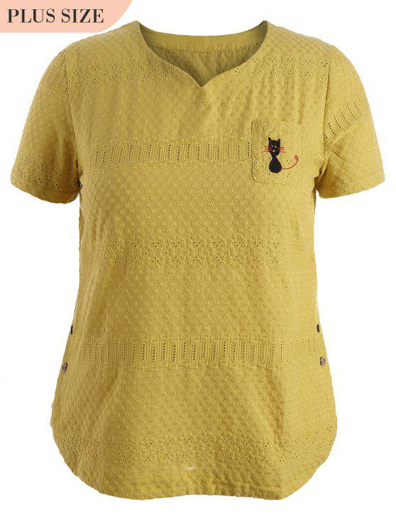 hot Side Buttoned Sheer Plus Size Top - YELLOW XL