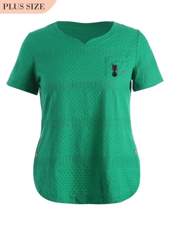 trendy Side Buttoned Sheer Plus Size Top - GREEN 4XL