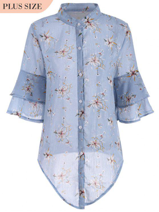 fancy Flare Sleeve Floral Plus Size Blouse - BLUE XL