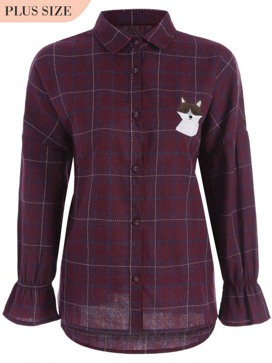 buy Checked Doggy Patched Plus Size Shirt - RED 2XL