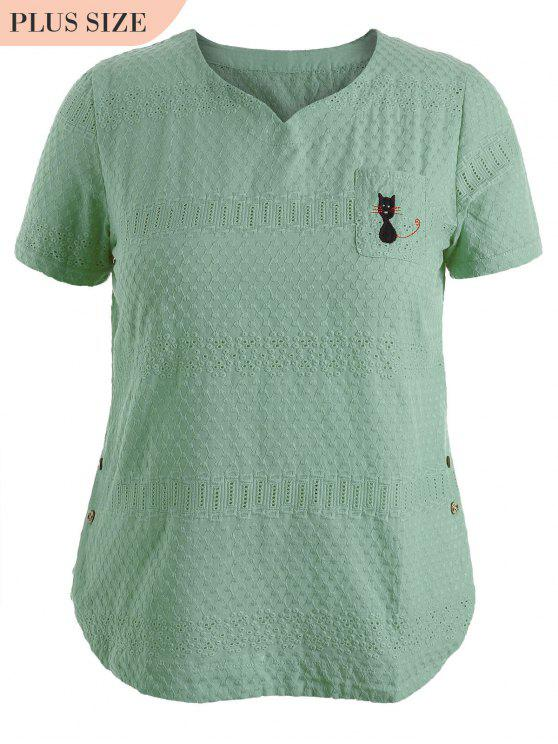 lady Side Buttoned Sheer Plus Size Top - LIGHT GREEN 2XL