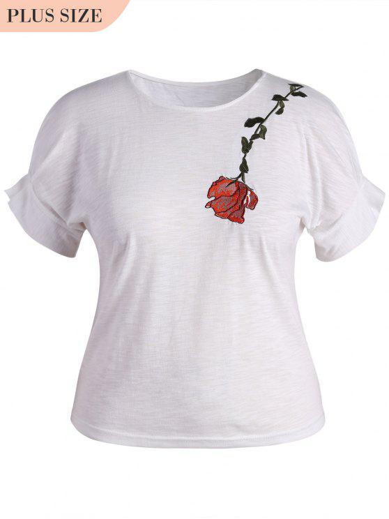 Drapé Sleeve Plus Size Floral Brodé Top - Blanc 3XL