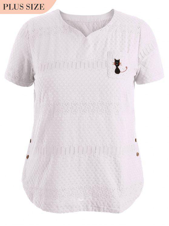 Side Button Sheer Plus Size Top - Blanc 3XL