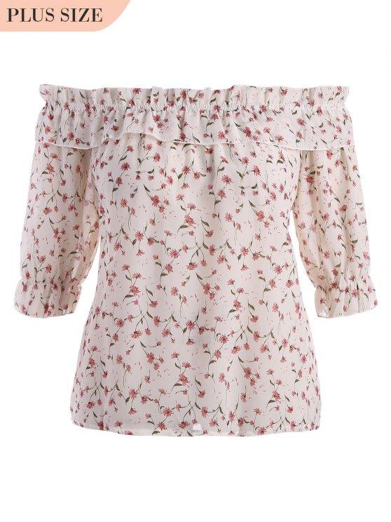 womens Plus Size Tiny Floral Off Shoulder Blouse - BEIGE XL