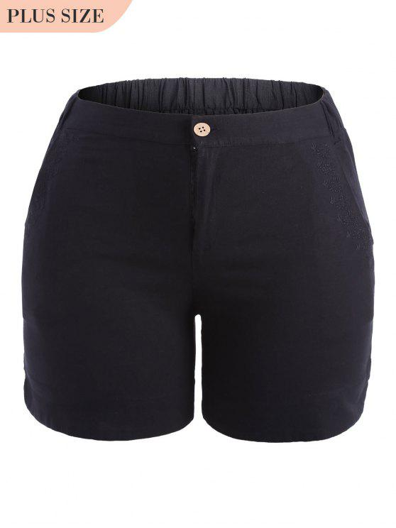 online Plus Size High Waisted Embroidered Shorts - BLACK 3XL
