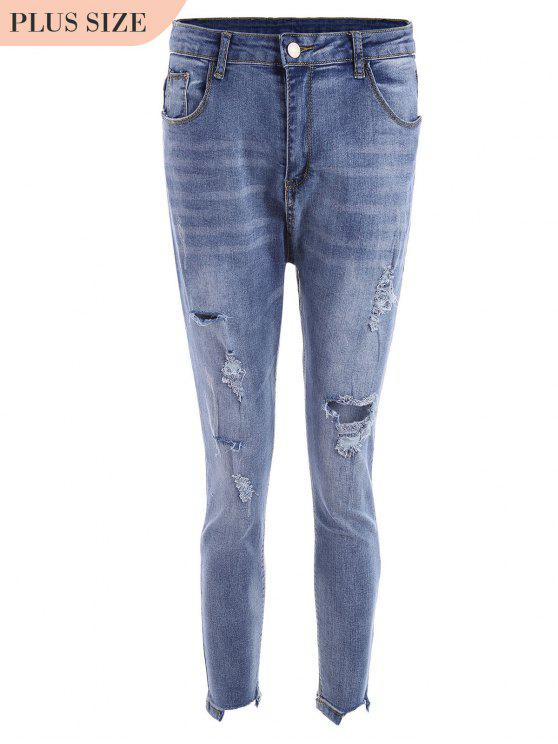 Skinny Plus Size Destroyed Pencil Jeans - Azul 4XL