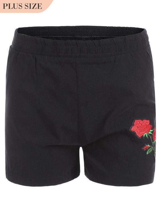 Pantalones cortos bordados florales de tamaño más informal - Negro XL