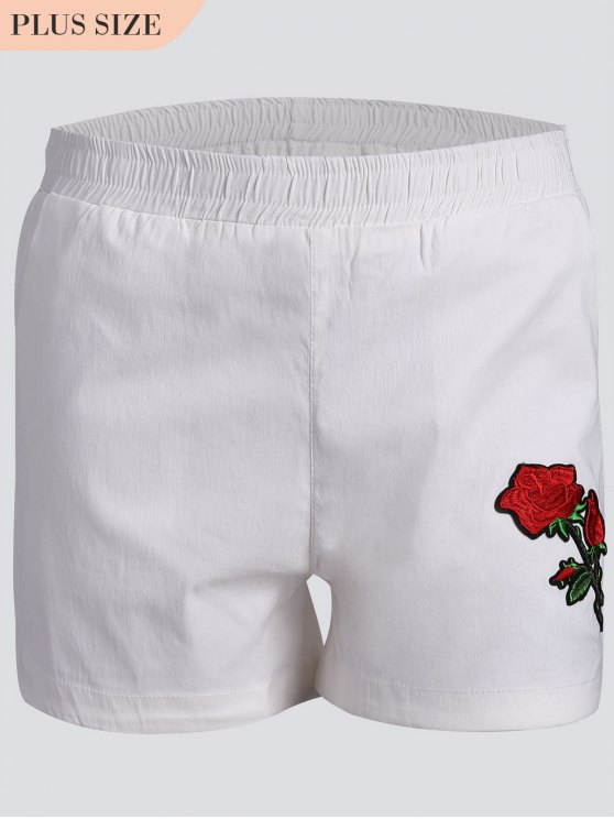 womens Casual Plus Size Floral Embroidered Shorts - WHITE 2XL