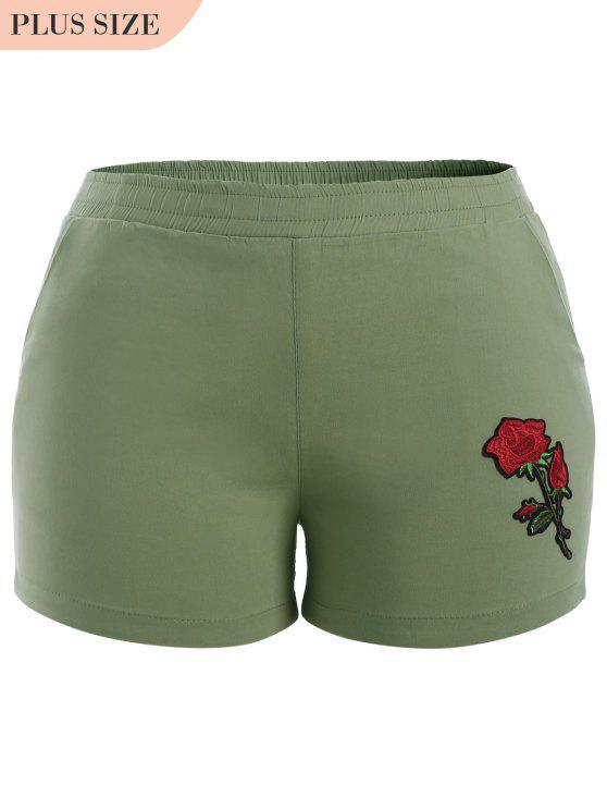 Pantalones cortos bordados florales de tamaño más informal - Verde Claro XL