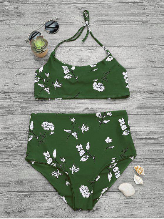 outfits Slimming Control High Waisted Bralette Bikini Set - GREEN M