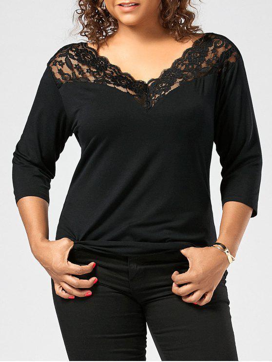 women's Lace Sheer Trim Plus Size T-shirt - BLACK 2XL