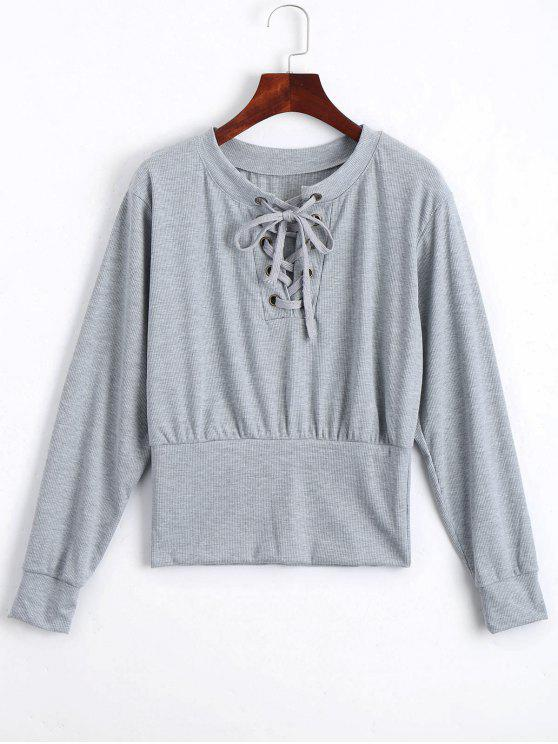 unique Lace Up Long Sleeve Knitted Tee - GRAY XL