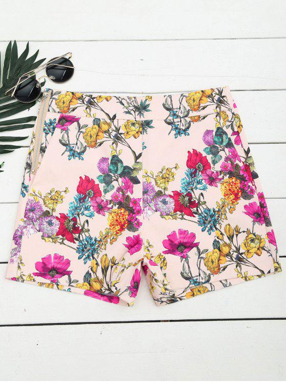 womens Side Zipper High Waisted Floral Shorts - FLORAL L