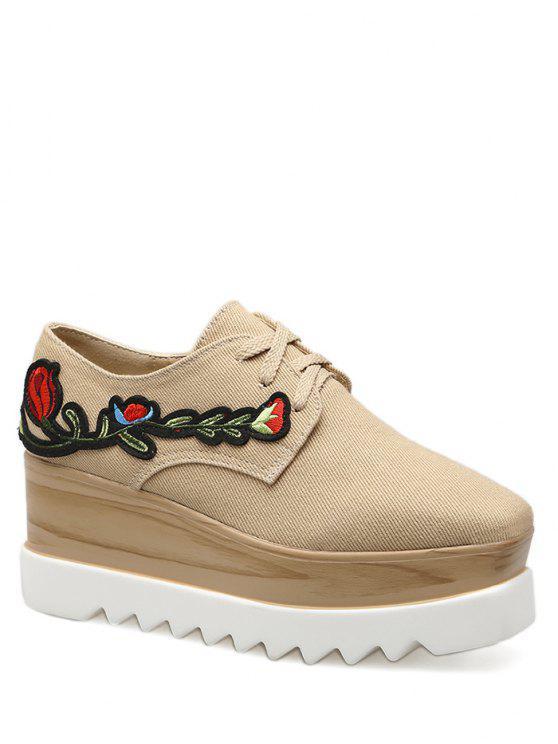 Denim Square Toe bordado cuña zapatos - Albaricoque 38