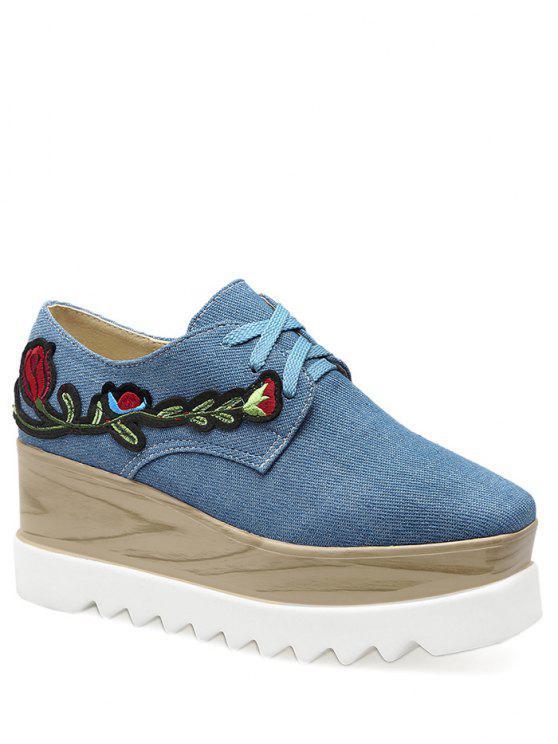 Denim Square Toe Embroidery Wedge Shoes - Denim Bleu 40
