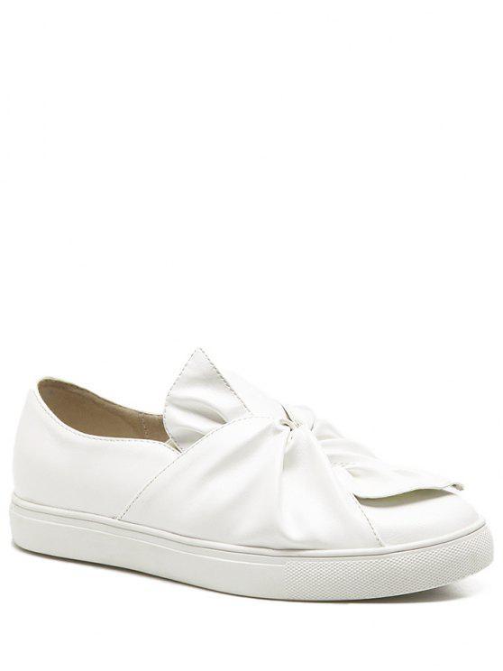 حذاء مسطح من الجلد المزيف مستدير من الأمام مزين بفيونكة - أبيض 37