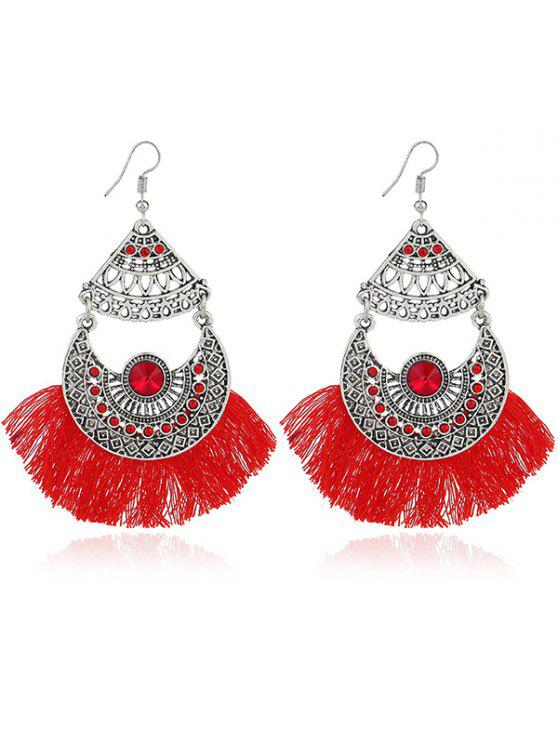 Rhinestone Moon Tassel Gypsy Hook Earrings - Vermelho