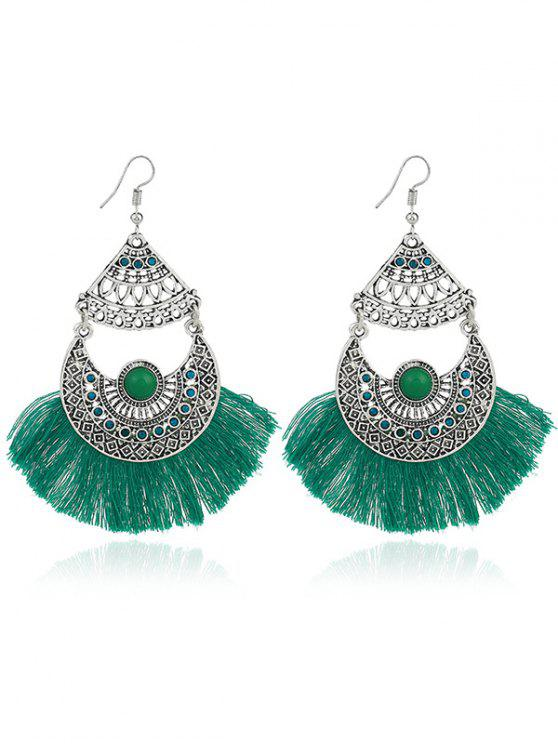 Rhinestone Moon Tassel Gypsy Hook Earrings - GREEN