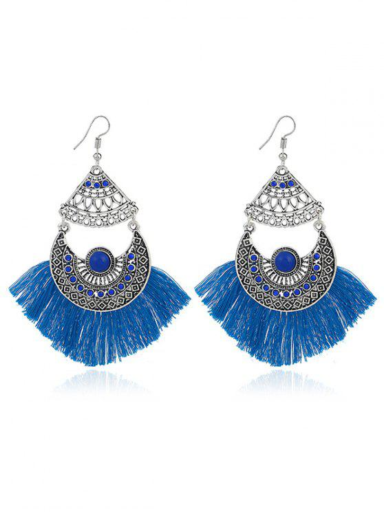 Rhinestone Moon Tassel Gypsy Hook Earrings - Azul