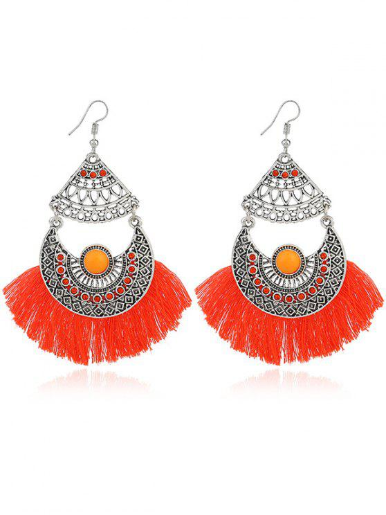 Rhinestone Moon Tassel Gypsy Hook Earrings - Laranja