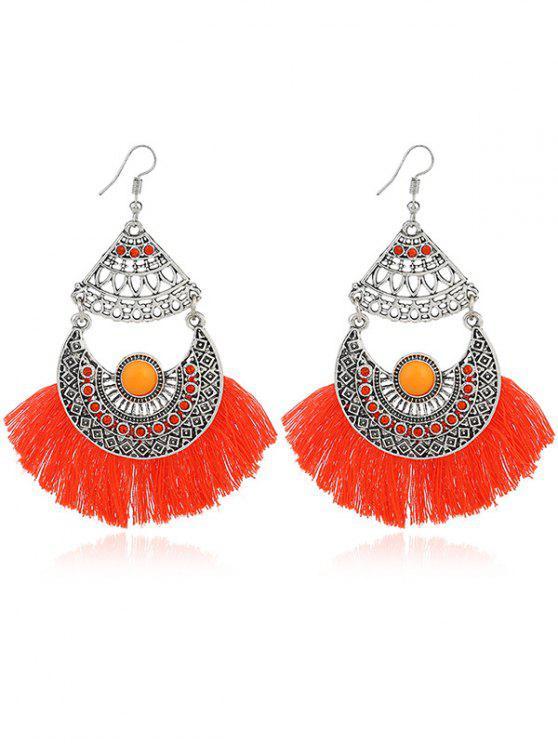 ladies Rhinestone Moon Tassel Gypsy Hook Earrings - ORANGE