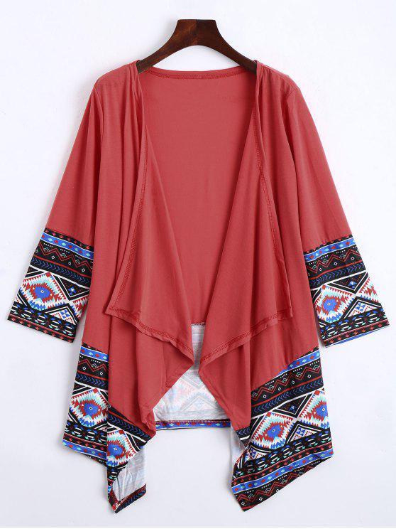 Cardigan de impresión frontal geométrico abierto - Sandia Roja XL